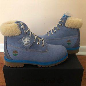 Timberland Premium Denim Fur Boot. 6 inch. Size: 9